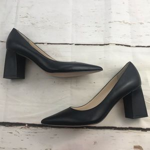 Marc fisher black leather chunky heel pointed toe